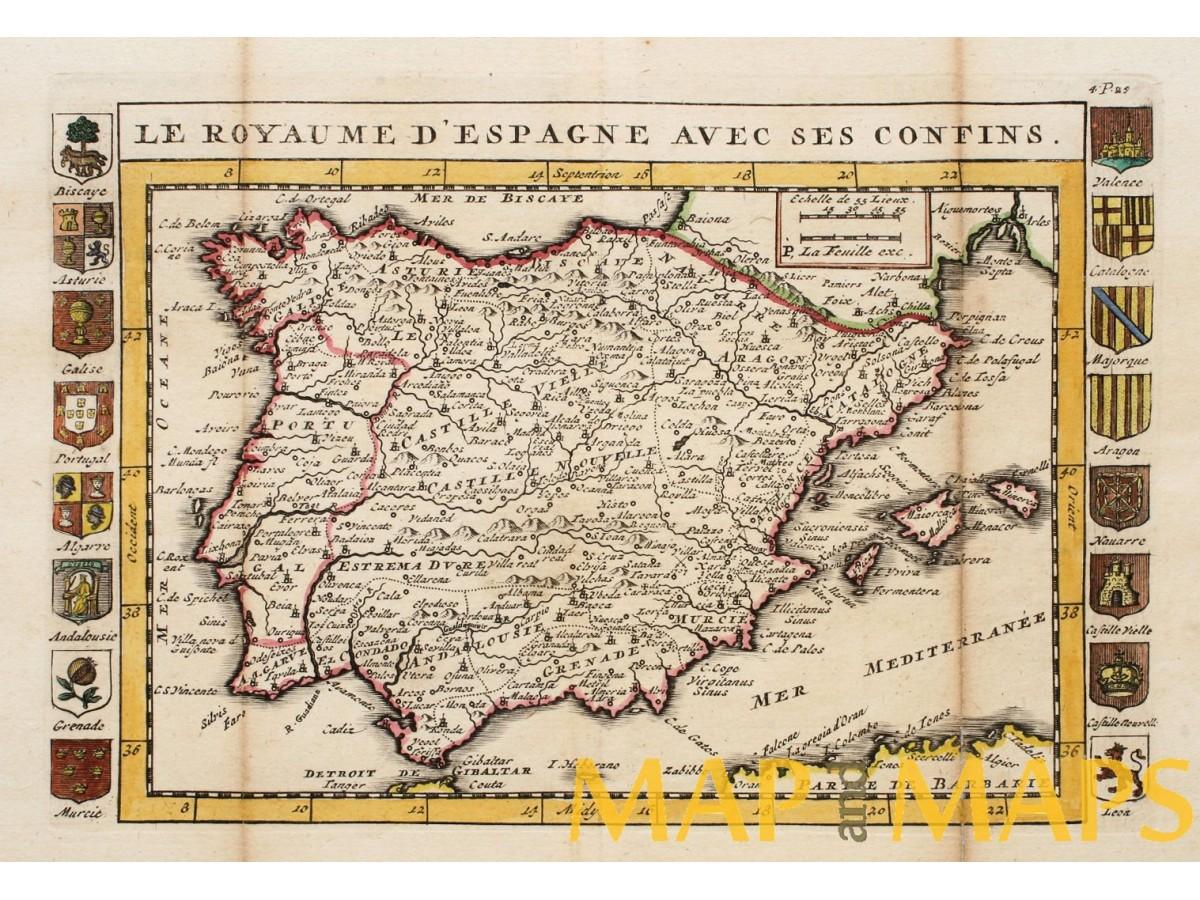 Map Of Spain 1700.Le Royaume D Espagne Avec Ses Confins Old Map La Feuille Mapandmaps