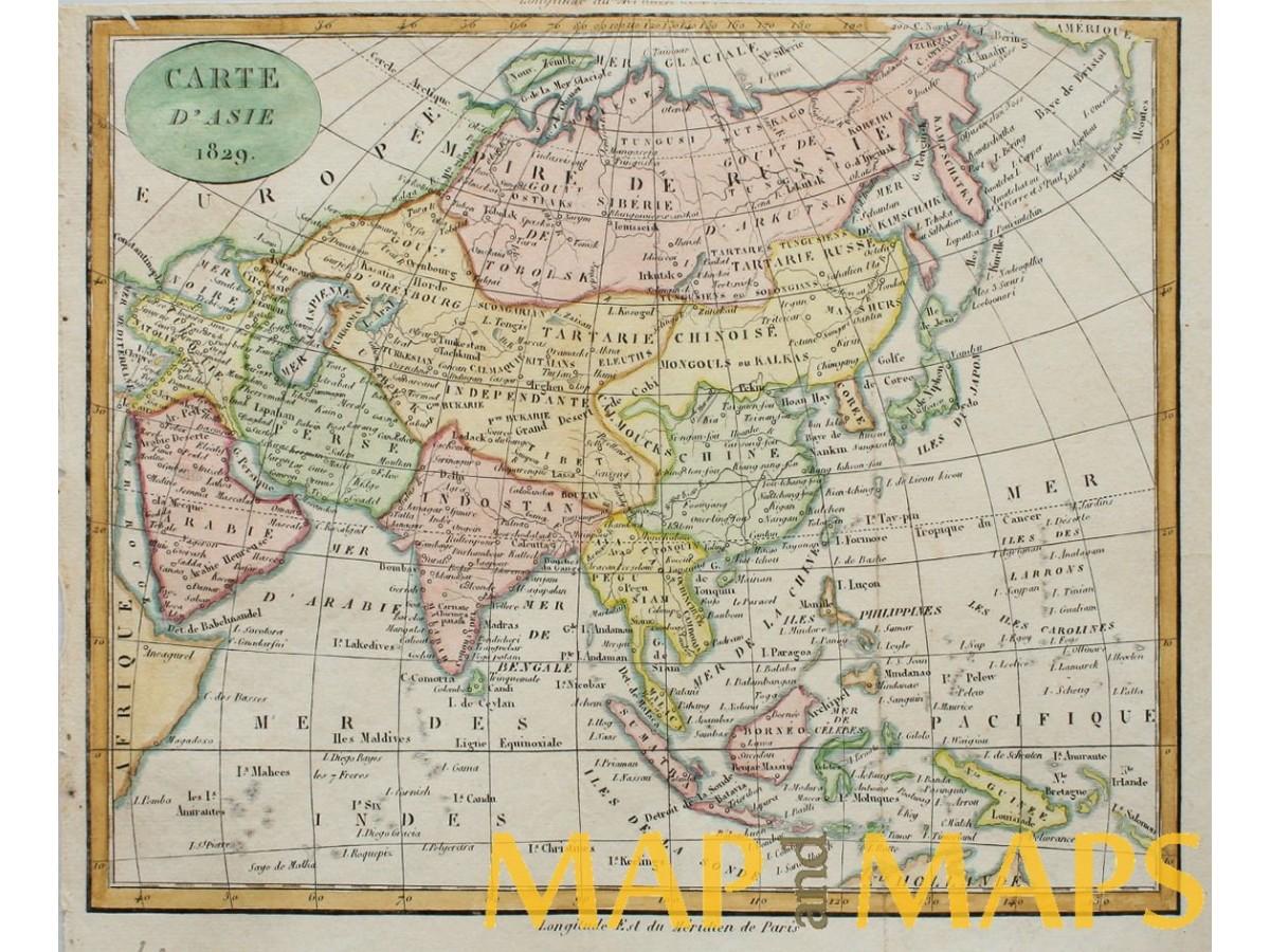 Carte d'Asie antique map Asia by Dufour 1829 | Mapandmaps