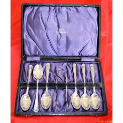6 Art Nouveau Sterling Silver Teaspoons including sugar tongs Barker Bros 1913.