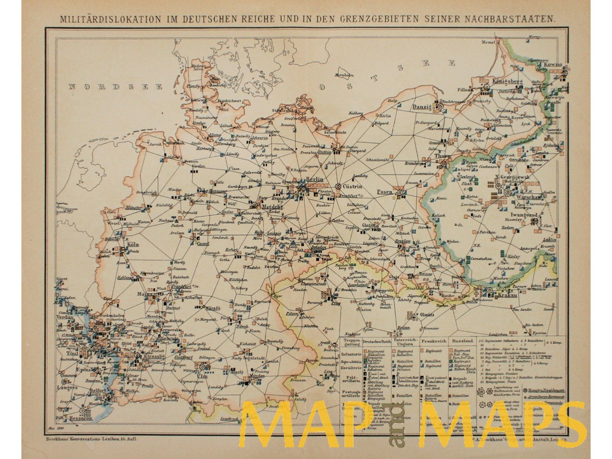 Old Military Map Germany Poland Russia By Brockhaus 1900 Mapandmaps