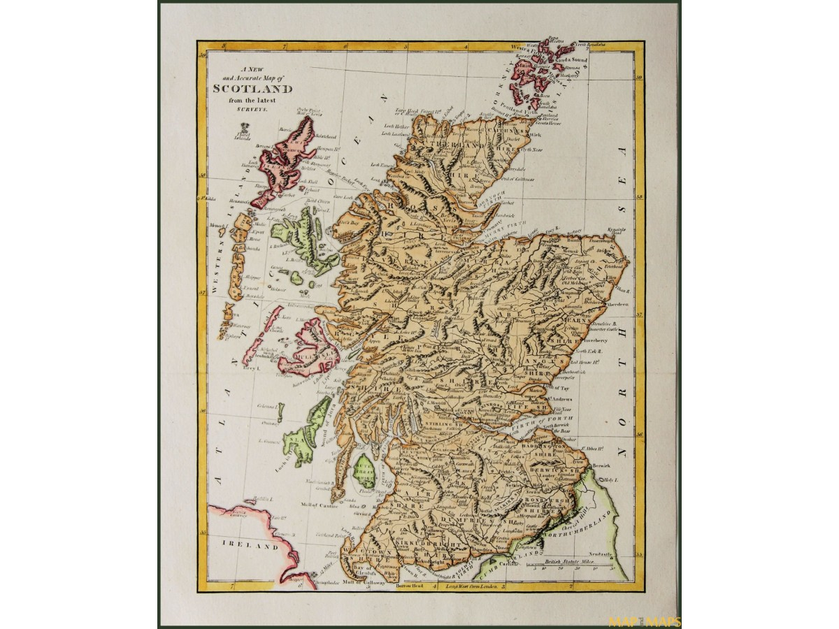 A New and accurate map of Scotland old map Cooke 1802 | Mapandmaps