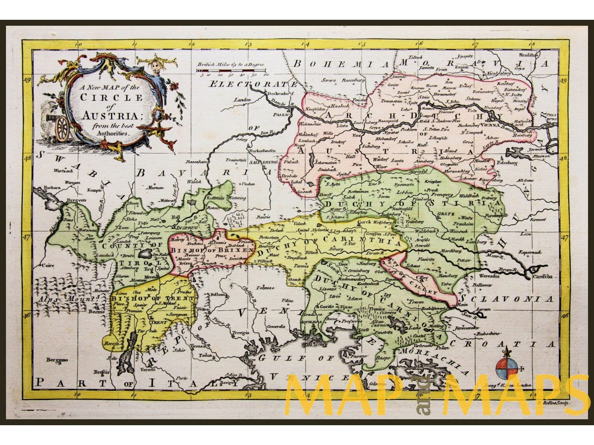 Tirol Italy Map.New Map Of The Circle Of Austria Antique Map Gibson 1765 Mapandmaps