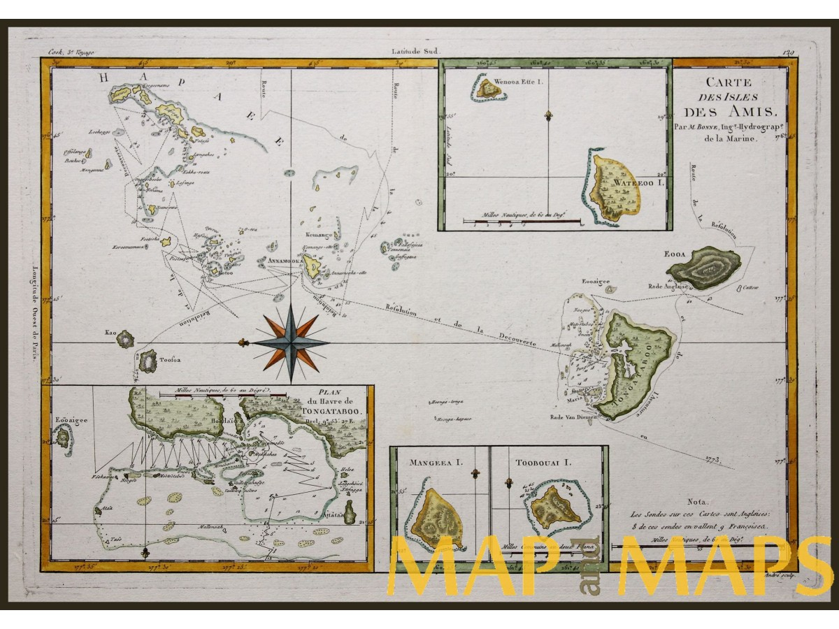 Tonga Islands antique map Capt. Cook 3e Voyage, Bonne | Mapandmaps on zoom in on world map, 360 street view zoom map, zoomed out map,