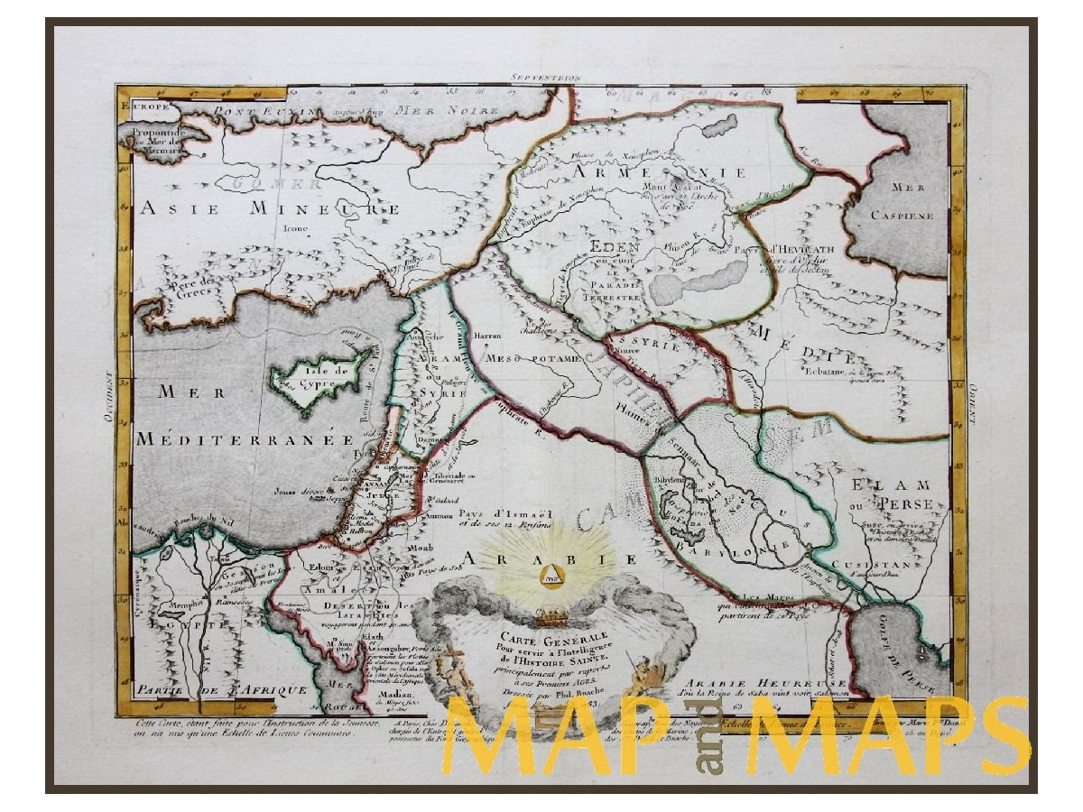 Middle East Map Jewish History Garden Of Eden Philippe Mapandmaps